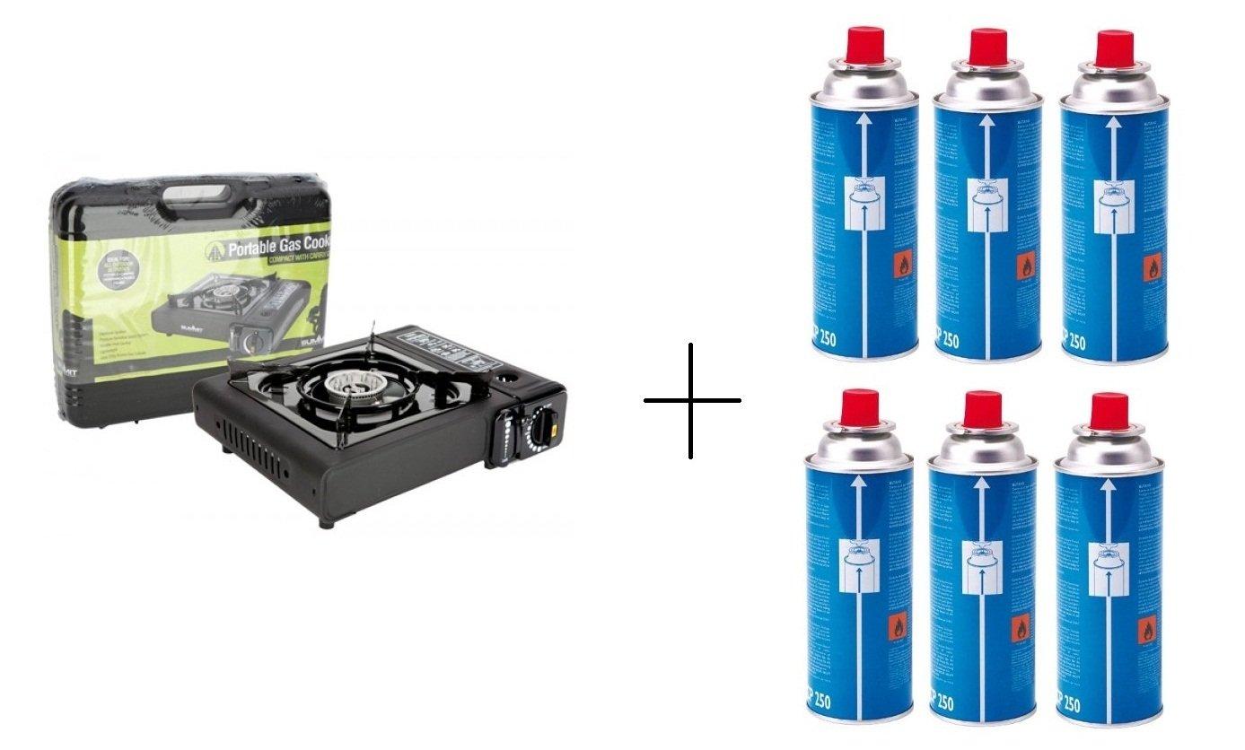 Camping cocina de Gas Estufa Portable Sivitec + 6 x Campingaz CP250 resellable cartucho de Gas: Amazon.es: Deportes y aire libre