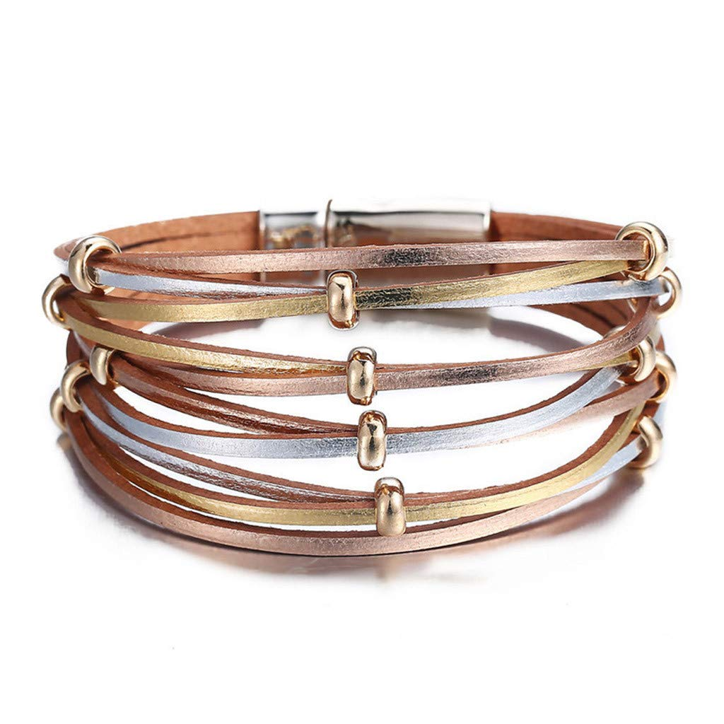 Multi Layer Leather Bracelet Braided Wrap Cuff Bangle with Alloy Magnetic Clasp Handmade Jewelry Magnetic Buckle Wristband for Lover Anniversary Brithday Valentine's Day (Rose Gold)