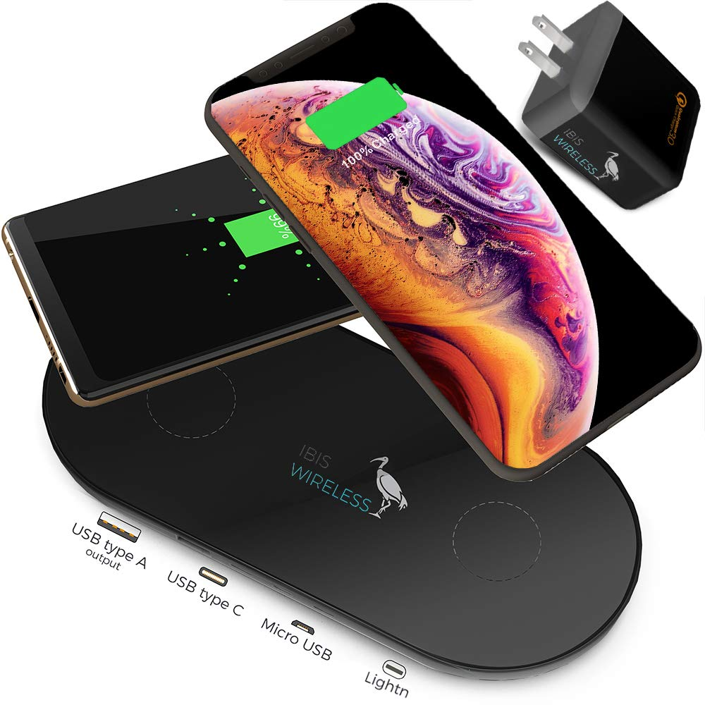 IBIS Wireless Space Grey 9W Dual Wireless Charger Fast Charging Station 3 Devices at Once, Wireless Charging Pad, Certified Qi Wireless Charger USB C Phone Charger Pad for iPhone Xs Max, XS AirPods