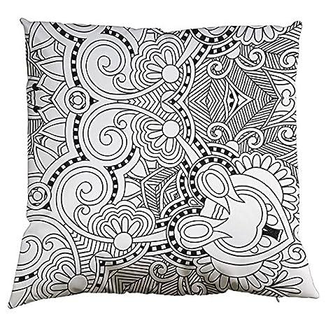 XQING DIY Funda de almohada, Cojín Doodle, dibujo a mano ...