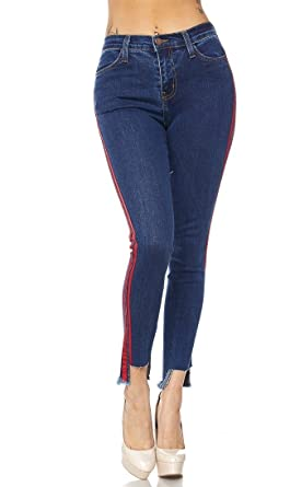 8feba135eb4b07 Red Side Stripe High Waisted Denim Skinny Jeans at Amazon Women s ...