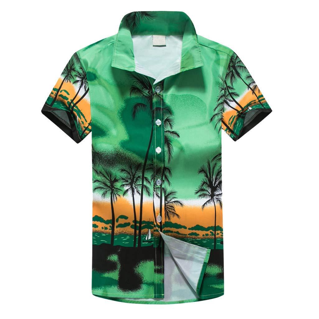 NUWFOR Men Hawaiian Print Short T-Shirt Sports Beach Quick Dry Blouse Top Blouse(Green,XXL US Chest:50.4''