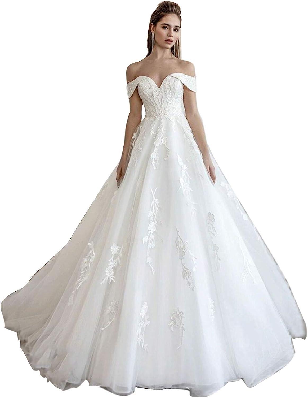 Lace Train Wedding Dress for Bride Aline Applique Bride Dress Long Tulle Off Shoulder Strapless 61fGRH7VVfL