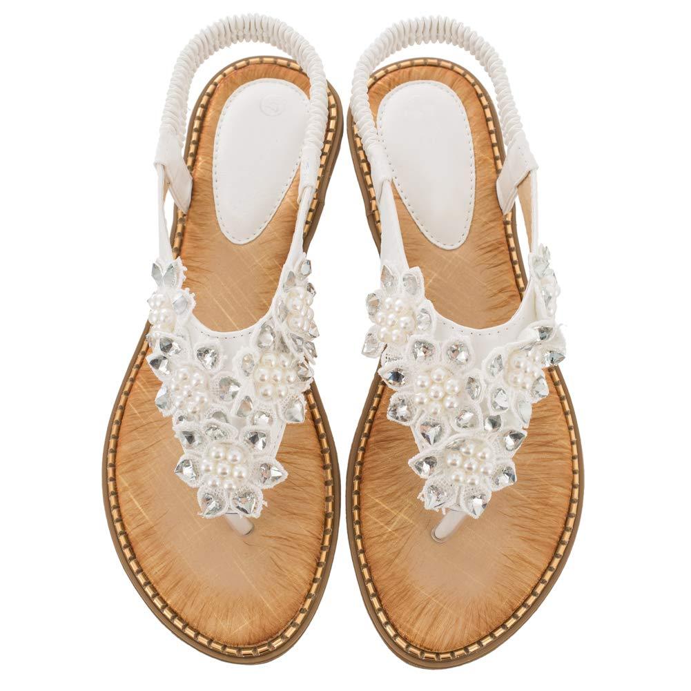 Women's White Rhinestone Pearl Flower Back Strap Beach Flat Sandals