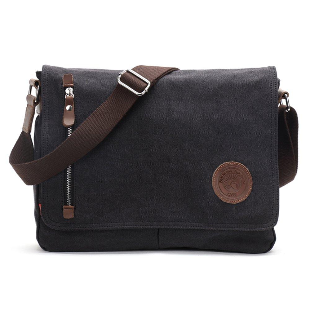 Shoulder Bags, Laxier Crossbody Casual Handbag Vintage Canvas Shoulderbag Messenger Bags for Men and Women (Black)
