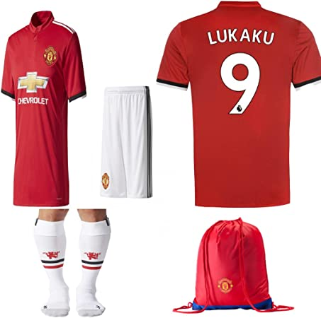 Manchester United NB Paul Pogba Lukuka 2017 2018 17 18 Niños Replica Hogar, Kit de Jersey Away: Camisa, Corto, Calcetines, Bolsa (Lukaku Rojo, Talla ...