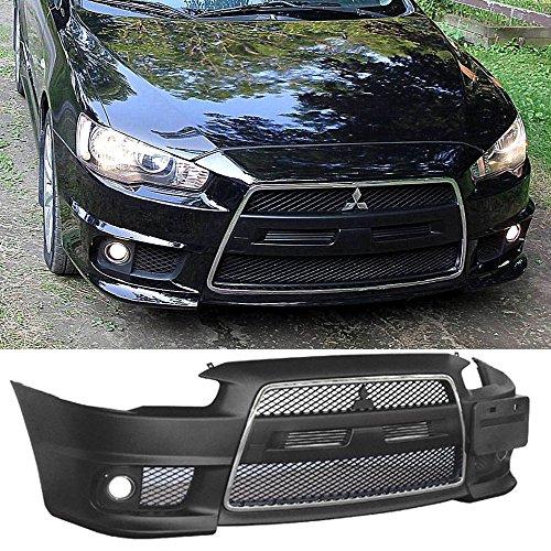 Mitsubishi Chrome Bumper - Fits 08-14 Lancer EVO Front Bumper Cover Conversion +Chrome Grill + Fog Cover PP