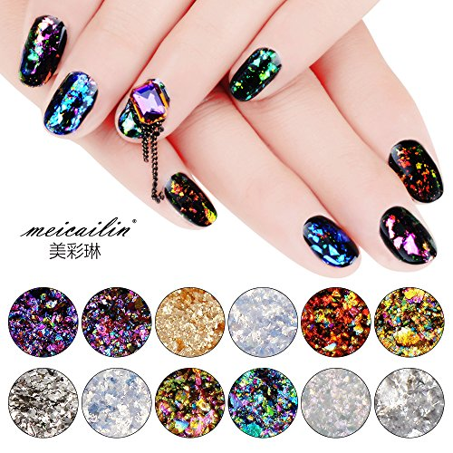 Sindy 12 Colors Chameleon Nail Sequins Glitter Dust Shinning Nail Mirror Glitter Paillette Powder DIY Decoration Chrome Pigment