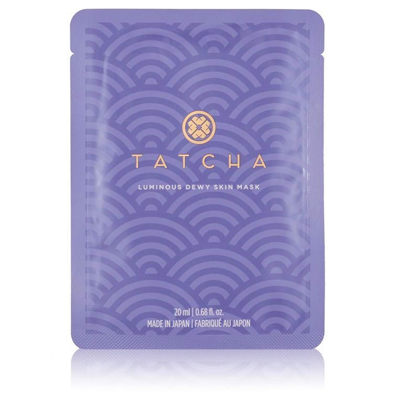 Tatcha Luminous Dewy Skin Mask: Nourishing Single-Use Mask Infused with Green Tea, Rice, and Algae for Moisturized Skin (1 Pack)
