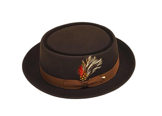 f9c41731cf3 Amazon.com: New Mens 100% Wool Brown Porkpie (Pork Pie) Hat: Clothing