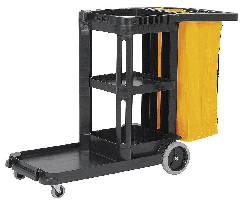 Janitor Cart, Black, Polypropylene by Tough Guy
