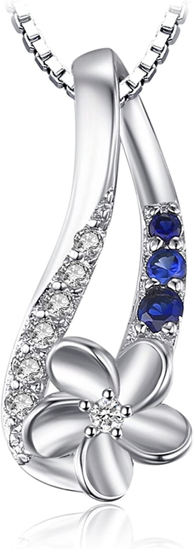 JewelryPalace Colgante elegante adornado Zafiro azul creado en forma de pétalo Collar Plata de ley 925 cadena de caja 45cm