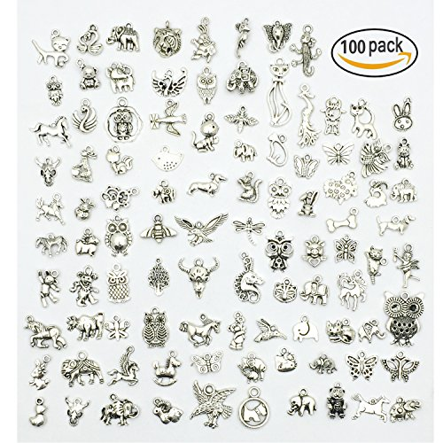 Pewter Pendant Keychain - JIALEEY Wholesale 100 PCS Mixed No Repeated Silver Pewter Smooth Metal Charms Pendants DIY for Necklace Bracelet Dangle Jewelry Making and Crafting, Animal Charms