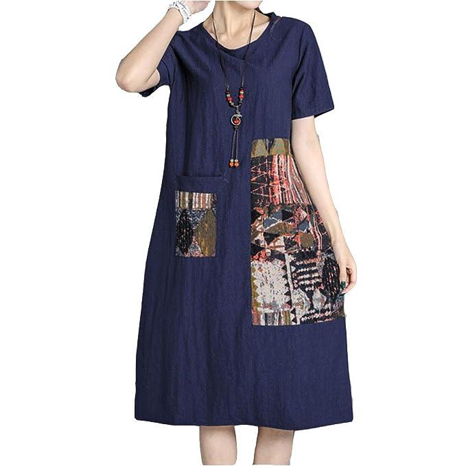 58488e756b Vestido Holgado Suelto de Verano de Manga Corta con Estampado de algodón en  Lino con Cuello Redondo para Mujer  Amazon.es  Ropa y accesorios