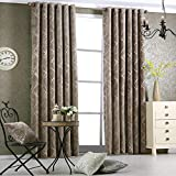 Cheap bigmum Curtains for Bedroom Luxury Blackout Curtains for Living Room Chenille Window Treatments 52 by 84 Inch Length 2 Panels (Brown)
