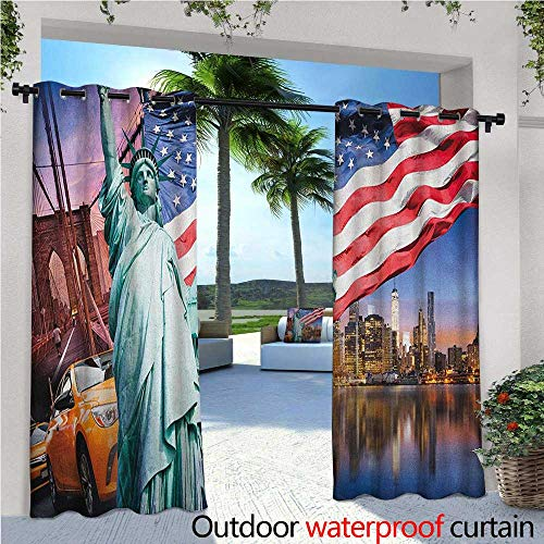 familytaste United States Outdoor Blackout Curtains USA Touristic Concept Collection Statue of Liberty NYC Cityscape Flag Cars Outdoor Privacy Porch Curtains W96 x L108 Multicolor ()