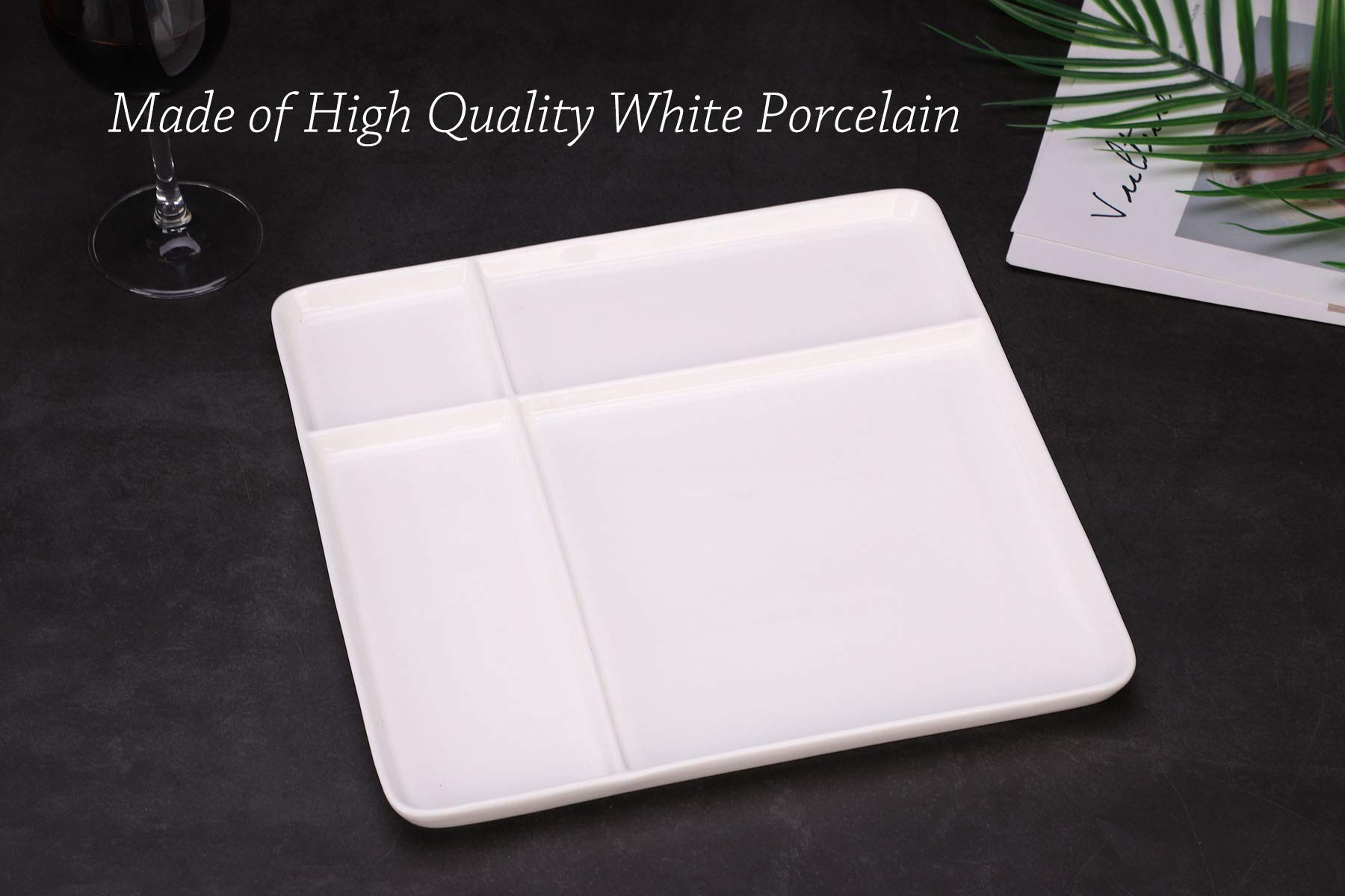 Ceramic Divided Plate with Bamboo Cutting Board - Cheese Board Salad Plate Dinner Plate Cake Plate - Gift Idea - Great Use as Any Occasion (White) by One Goods-1 (Image #6)