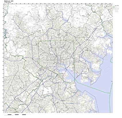 Amazon Com Baltimore Md Zip Code Map Laminated Home Kitchen