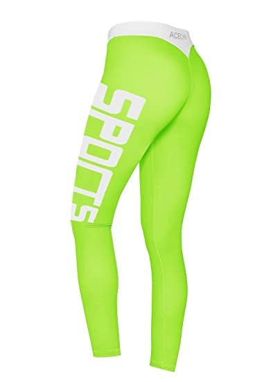 91adcd0cd4 Amazon.com: Wancy Women's Sports Leggings Spandex Workout Fitness Gym  Running Athletic Tight Yoga Pants Light Green Small: Clothing