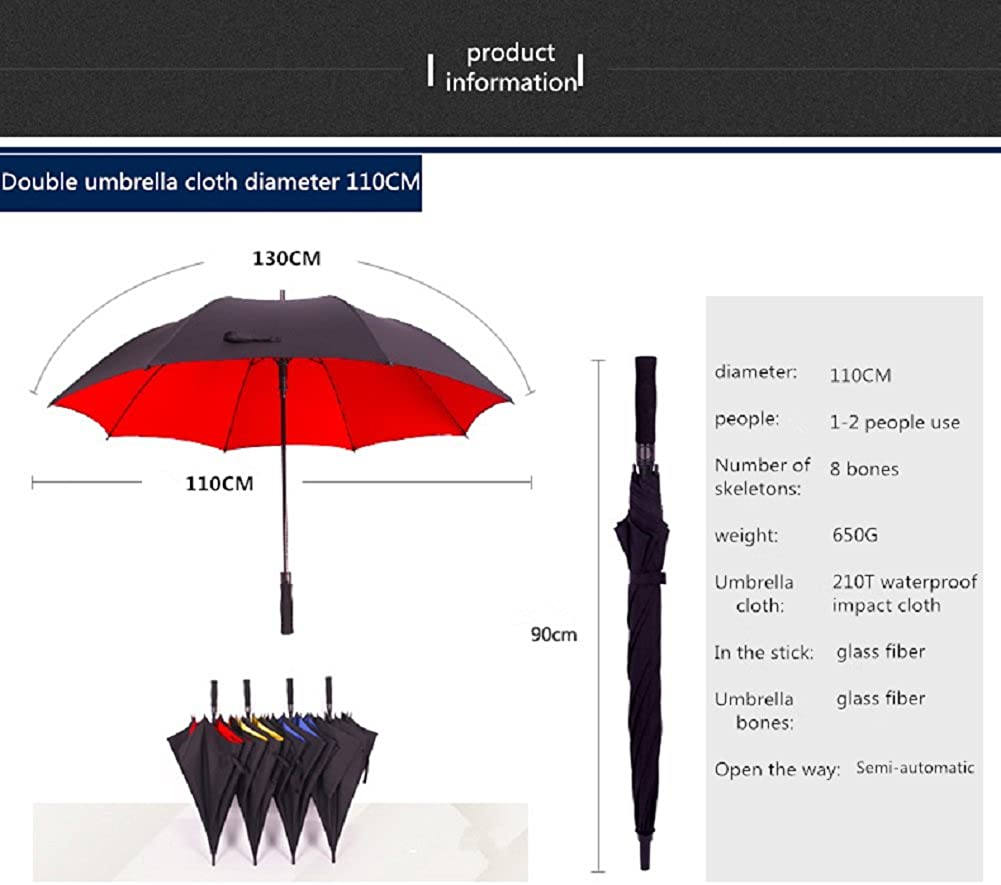 Travel Umbrella Double Layer Long Holder Windproof Reinforced Semi Automatic