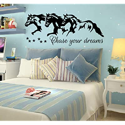Diuangfoong Chase Your Dreams W Horses and Stars Decal Wall Vinyl Sticker Kids Room Nighttime Wish Barrel Racing Paint Horses Running Nursery Art Gift: Kitchen & Dining
