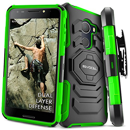 (T-Mobile REVVL Case, Evocel [New Generation] Rugged Holster Dual Layer Case [Kickstand][Belt Swivel Clip] For Alcatel Walters / T-Mobile REVVL (5049W), Green (EVO-ALWALTERS-XX12))