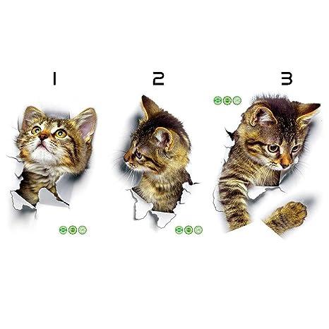 sevenuk 5 unids Decoración Arte Creativo Lindo Impermeable Gato Perro 3D Agujero Vista de Fondo Cuarto