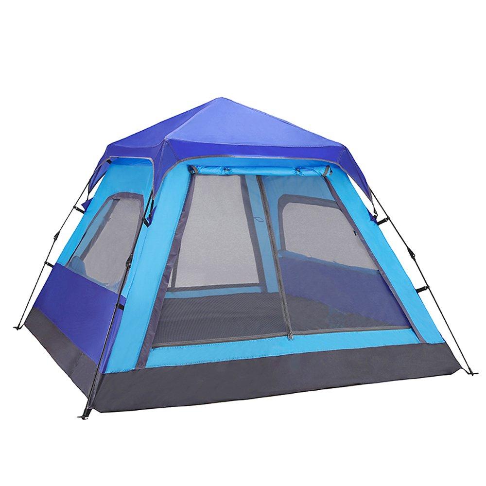 QB-ZP Automatisches Zelt im Freien 3-4 Leute, die kampierendes doppeltes regendichtes blaues Zelt kampieren