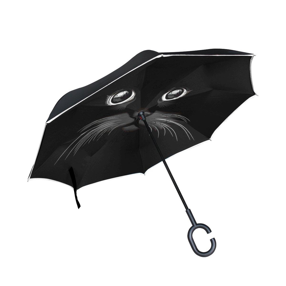 Isaoa Grand parapluie inversé Parapluie coupe-vent double couche Construction inversée Parapluie pliable pour une utilisation de voiture, poignée en forme parapluie Chat Noir Parapluie pour homme et femme
