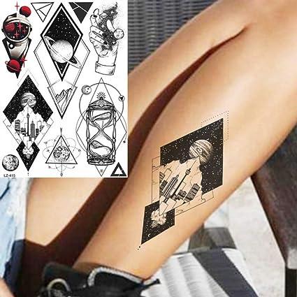 Negro Geométrico Universo Robot Manos Tatuajes Pegatinas para ...