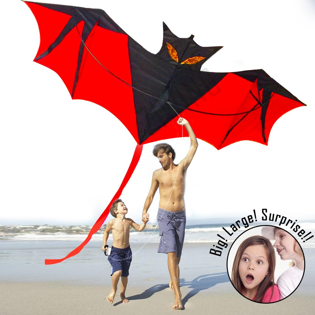 Kites for Kids Adults,Kite Kites Large Bat for The Beach Park Outdoor Easy Fly 3D Animal Bat Dragon Rainbow Colorful Kite Easy to Assemble Best Quality 100% Satisfaction Great for Family Fun by ziwing