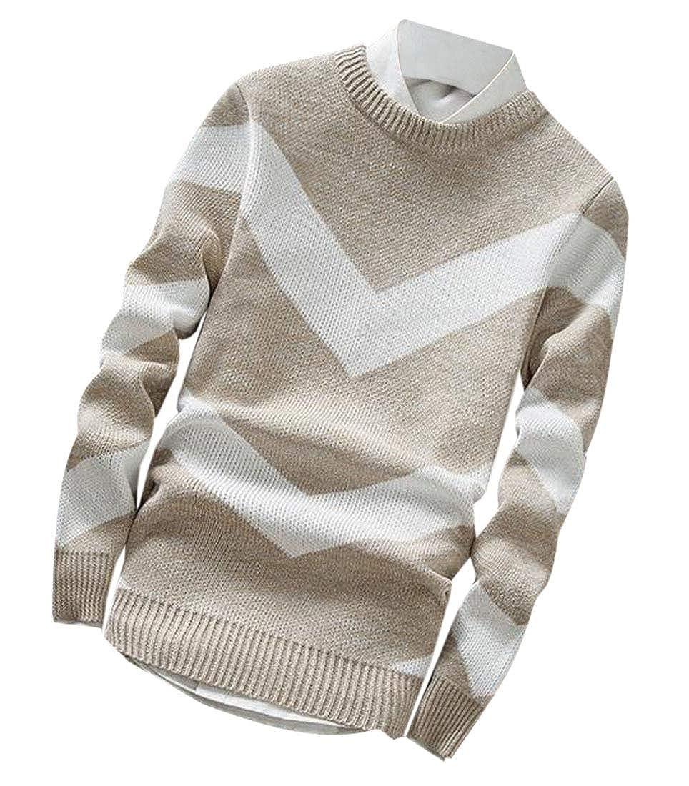 Nanquan Men Stylish Fall Long Sleeve Geometric Knit O-Neck Pullover Sweater