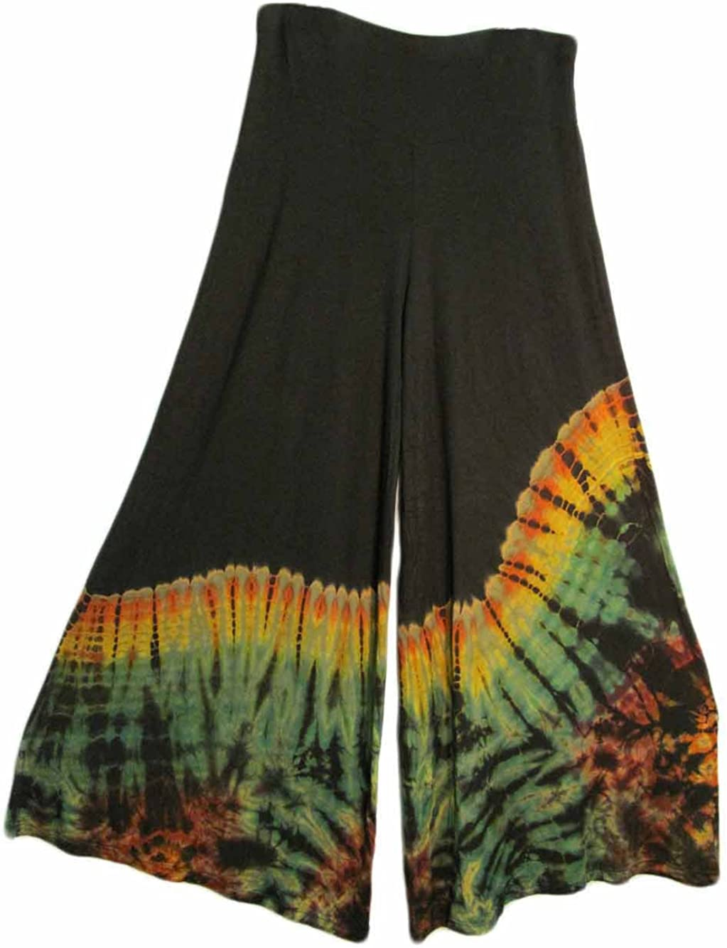 Image of Calipers Missy Spandex Hippie Yoga Clothing Tie-Dye Bell-Bottom Maxi Pants (Black/Green)