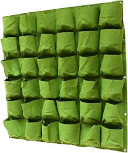 994 36 Pockets Vertical Wall Planter, Wall Hanging Garden Fence Planters Plant Grow Bag for Herbs Vegetables and Flowers (36 Pockets (Green))