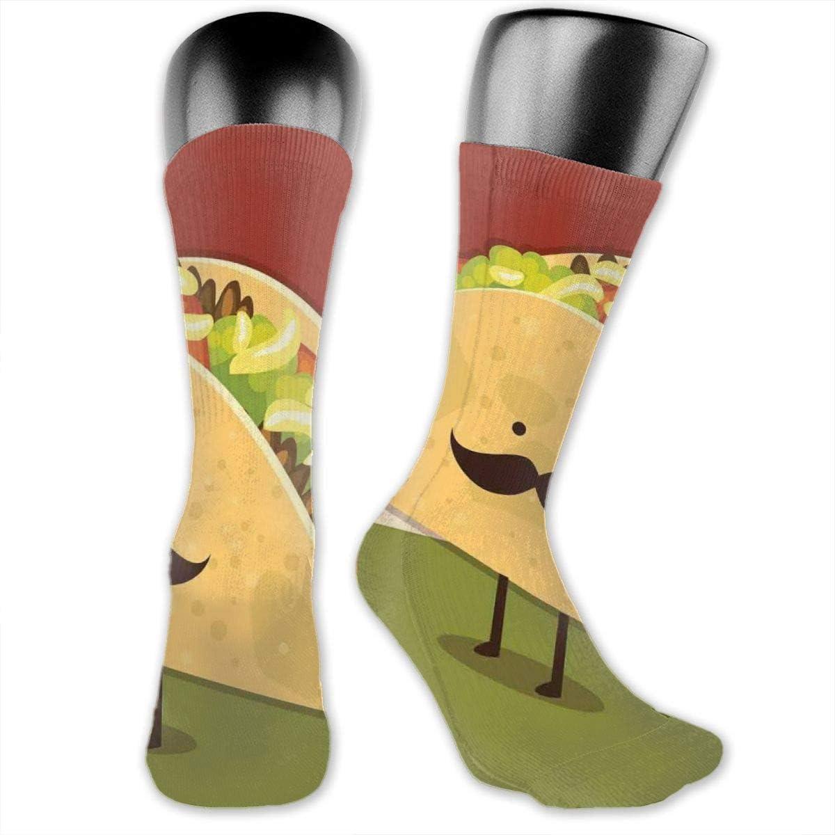 Mexican Texas Cactus Plants Spikes Cartoon Like Artistic Print Socks Compression Medium Calf Crew Sock