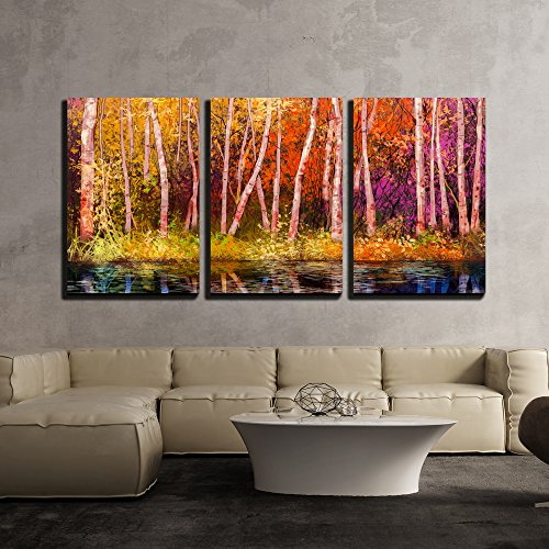 wall26 - 3 Piece Canvas Wall Art - Oil Painting Landscape - Colorful Autumn Trees - Modern Home Decor Stretched and Framed Ready to Hang - 24