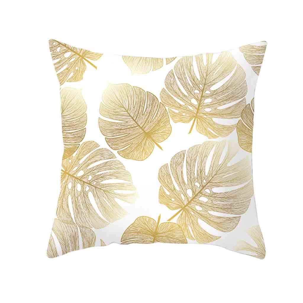 Pet1997 Golden Leaf Hug Pillowcase, Gold Plant Printed Polyester Pillow Case Cover, Sofa Cushion Cover, Home Decor, Luxury Bedding,18 X18 Inch (D)