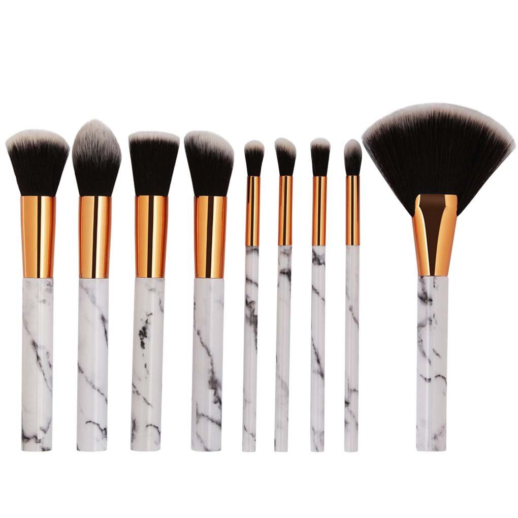 Tenmon 9Pcs Marble Makeup Brush Set Professional Face Eye Shadow Eyeliner Foundation Blush Lip Makeup Brushes Powder Liquid Cream Cosmetic Brush