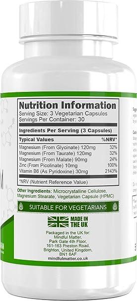 Fórmula de Magnesio 330 mg de Magnesio Activo por Dosis (90 Cápsulas Vegetarianas) | 3 Tipos Diferentes de Magnesio Altamente Biodisponible - GLICINATO, ...