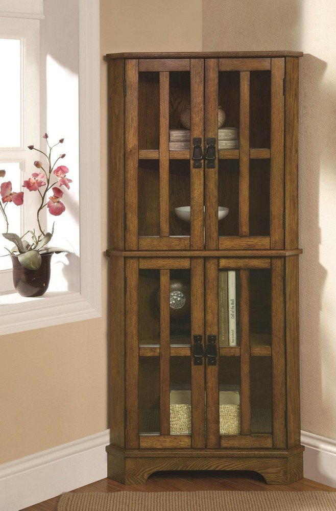 Contemporary Farmhouse Corner Curio Cabinet Brown Distressed Oak