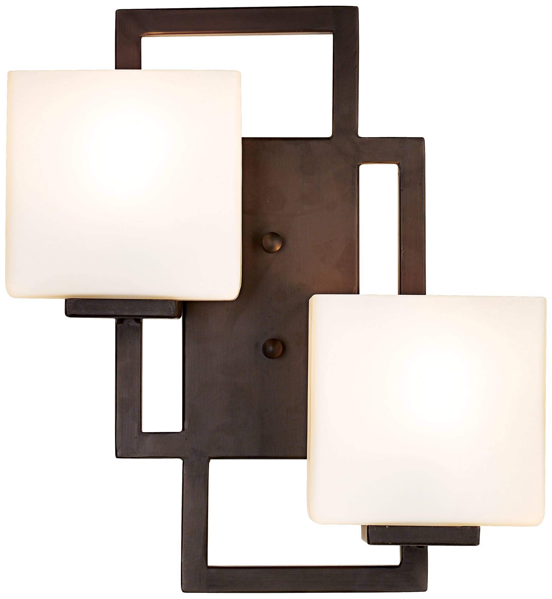 Lighting on The Square Modern Wall Light Bronze 15 1/2'' Square Glass Sconce Fixture for Bathroom Side of Mirror Hallway - Possini Euro Design