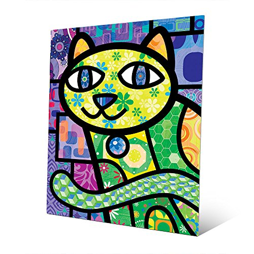 Quilted Green Kitty On Purple: Calico Cat Cartoon Graphic