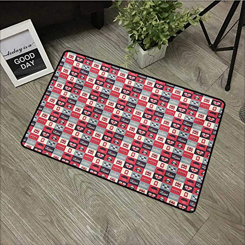 Bathroom Anti-Slip Door mat W31 x L47 INCH London,Retro Traditional London Icons in Squares United Kingdom Europe Travel Vacation,Multicolor Easy to Clean, Easy to fold,Non-Slip Door Mat Carpet