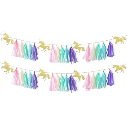 NICROLANDEE 2 Set Unicorn Party Supplies Tassel Garland Running Shaped Gold For Girls Boys Baby