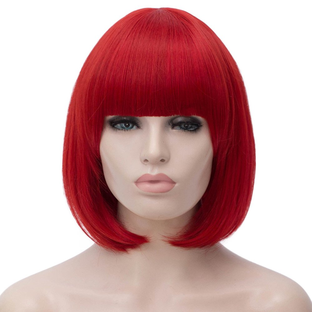 Short Bob Wigs Red Wig for Women with Bangs Straight Synthetic Wig Natural As Real Hair 12''with Wig Cap BU027R by Bopocoko
