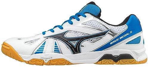 Mizuno - Wave Medal 5 - Zapatillas Fitness e Indoor - White/Black/Blue Aster: Amazon.es: Zapatos y complementos