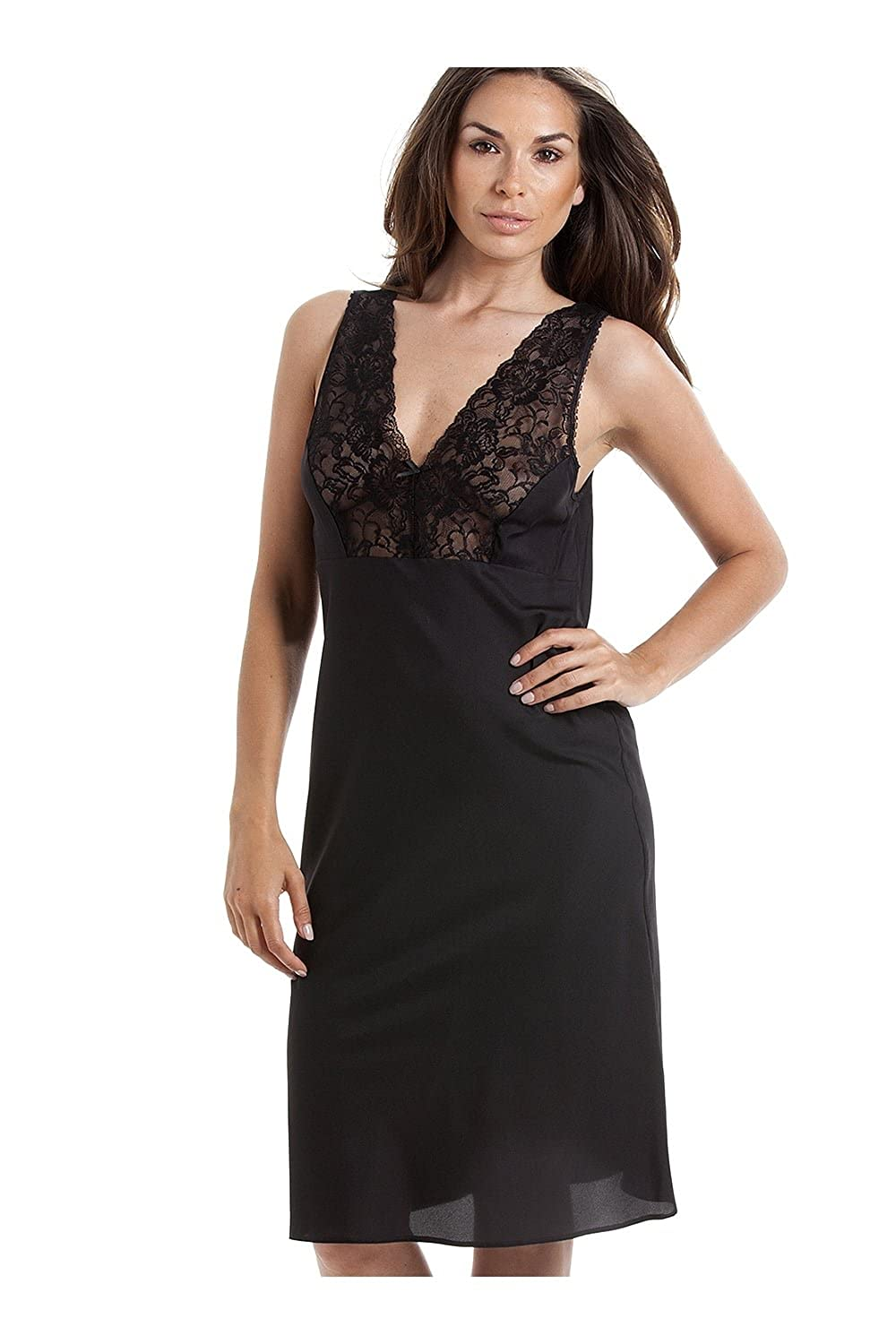 Camille Womens Ladies Classic Black Chemise Full Slip