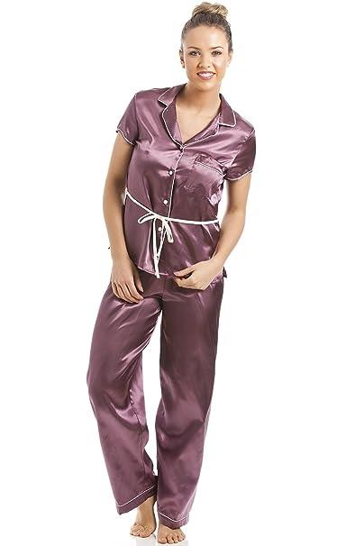 Camille - Conjunto de pijama satinado para mujer - Camisa de manga corta con cinturón - Color café: Amazon.es: Ropa y accesorios