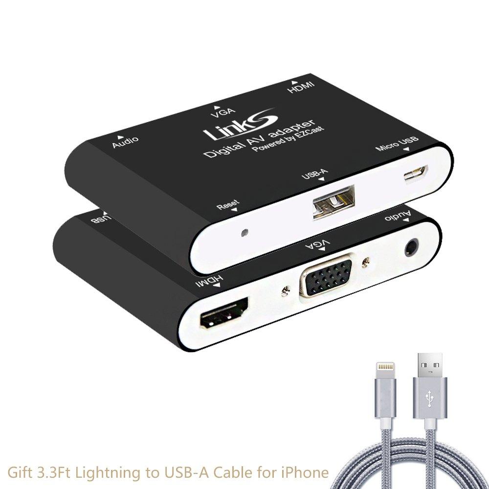 LinkS Lightning Digital AV Adapter,Lightning to HDMI+VGA+Audio for iPhone 8/8 Plus,iPhone X,iPhone 7/7Plus,iPad Air/Mini/Pro,iPod,Plug and Play-Black