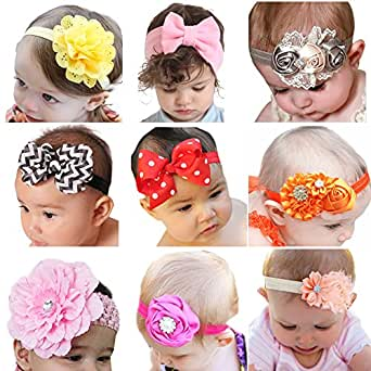 ROEWELL Baby's Headbands Girl's Cute Hair Bows Hair bands Newborn headband (9 different style bows)